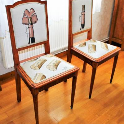 Chaises à personnalisation vinicole - vue latérale - en collaboration avec Laurent Bessot